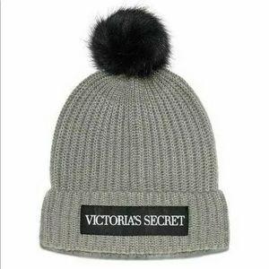 Victoria's Secret Pom Pom Gray Beanie Hat NWT